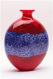 Sale 9018 - Lot 50 - A tall art glass vase with vibrant red and blue tones H:35cm