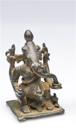 Sale 9093P - Lot 27 - Possibly Antique Small Indian Bronze of Ganesh, h. 7cm.
