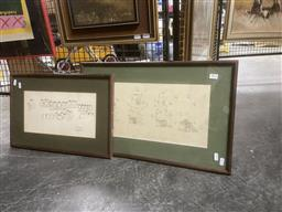 Sale 9123 - Lot 2074 - Pair of ink Illustrations -