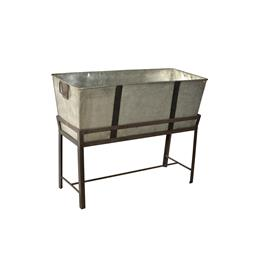 Sale 9216S - Lot 60 - A galvanised metal planter trough on stand, Height 95cm x Width 120cm x Depth 45cm