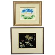 Sale 8304A - Lot 60 - Framed Metal Etching with a Coloured Glass Aquatic Artwork