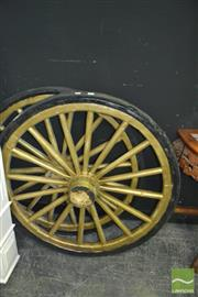 Sale 8337 - Lot 1012 - Pair of Cream Painted Wagon Wheels (D 100cm)