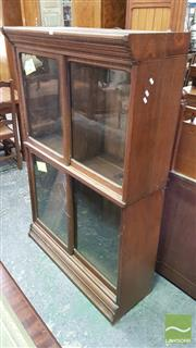 Sale 8402 - Lot 1039 - Unusual Edwardian Oak Stacking Bookcase, the two sections with pairs of sliding glass panel doors
