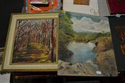 Sale 8453 - Lot 2085 - (2 works) Original Oil Paintings by Bourke and K. Stanwell - Highland Spring and Forest Scene, various sizes, signed.