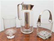 Sale 8470H - Lot 53 - An EP and glass water jug with chill insert, together with an ice bucket and glass candle holder, H of jug 27cm