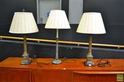 Sale 8489 - Lot 1004 - Pair of Brass Column Form Table Lamps with Shades Together with Another Example