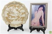 Sale 8586 - Lot 98 - Modigliani Framed Print Together with Oriental Plate