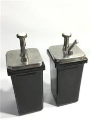 Sale 8600A - Lot 33 - Vintage pair of ceramic soda fountain syrup dispensers, lemon and vanilla, H 36cm.