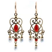 Sale 8857 - Lot 476 - A PAIR OF 9CT GOLD CORAL AND PEARL DROP EARRINGS; filigree mounts set with coral and cultured freshwater pearl drops, length 37mm.