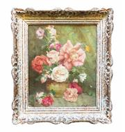 """Sale 8912H - Lot 69 - """"Bouquet roses"""" by Lievin  Baert  Belgium 1898-1990 oil on canvas on board signed  30 x 25 cm"""