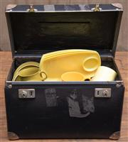 Sale 8984H - Lot 84 - A hinged box containing picnic wares, mainly plates, cups and saucers by Melmac, Vogue and a Danish example, width of box 41cm