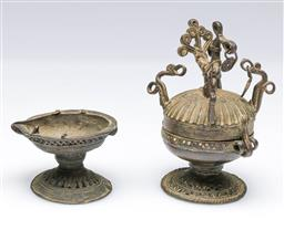 Sale 9093P - Lot 32A - Inidian Brass/ Bronze Peacock Container and Possibly Oil Lamp, h. 11cm