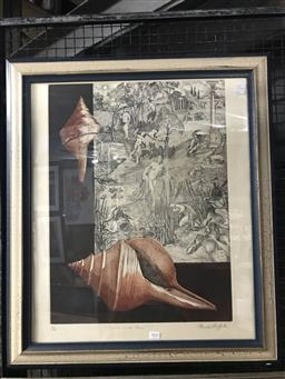 Sale 9113 - Lot 2032 - Pamela Griffith Syrius and Pan etching ed. 4/60, 60 x 44.5 cm, signed -