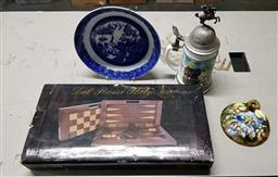 Sale 9176 - Lot 2329 - Small collection of sundries inc backgammon board, German stein, Minton plate, Majolica plaque and a stand