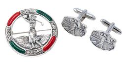 Sale 9194 - Lot 547 - SILVER GOLFING CUFF LINKS AND BROOCH; cufflinks with oval plaques 20 x 16mm, circular brooch inlaid with faux malachite and coral, w...