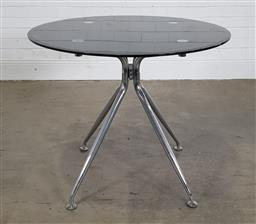 Sale 9240 - Lot 1091 - Round smoky glass occasional table on chrome base (h75 x d90cm)