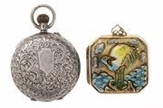 Sale 8527 - Lot 322 - LADYS SILVER POCKET WATCH AND AN ENAMELLED  LOCKET; watch with white dial, Roman numerals, engraved case, London import mark 1916,...