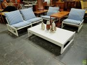 Sale 8625 - Lot 1096 - Robert Waters 5 Piece Lounge Suite with Four Armchairs and a Coffee Table (Featured on front of Australian Home Decorating by Babett...