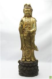 Sale 8652W - Lot 21 - Large Brass Figure of Guanyin (H 100cm Approx. Weight 30kgs)