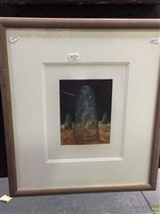 Sale 8648B - Lot 2026 - Madeleine Winch - Megalith, colour etching ed. 1/1, 20 x 20.5cm, signed and dated lower right