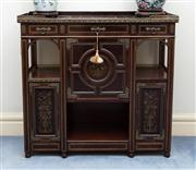 Sale 8815A - Lot 6 - A brass inlalid timber cabinet in the oriental taste with pierced galleried top, cupboard doors revealing shelved interior, H 94cm,...