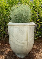 Sale 8908H - Lot 4 - A concrete Anduze pot, planted with lavender. Height of pot 71cm