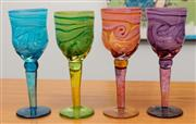 Sale 9044H - Lot 76 - Four Colin Heaney swirl glasses in blue, green, pink and purple Height 21cm