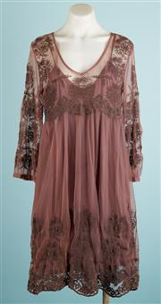 Sale 9071F - Lot 35 - AN AERO LONG SLEEVE EMPIRE STYLE DRESS; in chocolate brown with lace overlay, Size 10