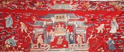 Sale 9093 - Lot 77 - A 19th Century Chinese Embroidery Featuring Empress Scene (169cm x 72cm)