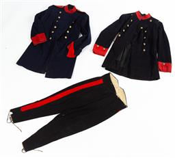 Sale 9130E - Lot 87 - Two David Jones & Co. tailored wool uniform jackets with NSW military force buttons, the navy longcoat with eleven silvered bronze b..