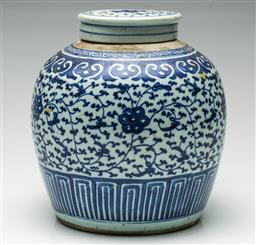 Sale 9192 - Lot 76 - A Blue and White Chinese Ginger Jar (H:20cm)