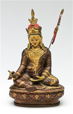 Sale 9209V - Lot 44 - A small bronze seated deity, with painted face (H: 18cm)