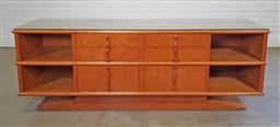 Sale 9210 - Lot 1072 - Edward Hill fitted sideboard with glass top (h:65 x w:232 x d:56cm)