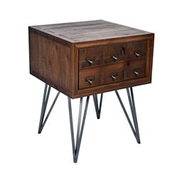 Sale 9245T - Lot 37 - An apothecary Mid-Century style side table with reclaimed timber, aged metal accent handles, on hairpin Legs. Dimensions: H 65 x W 5...