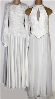 Sale 8134B - Lot 325 - FOUR 1970S LONG WHITE DRESSES; Mike Benet Formals with sequined, beaded and diamante bodice (8), Jacques Heim Paris and two others,...
