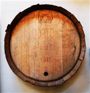 Sale 8362A - Lot 12 - A vintage French oak wine barrel end stamped Grand Cru 1945, made as a wall display