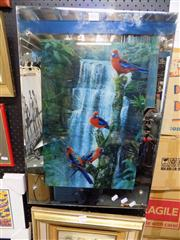 Sale 8437 - Lot 2033 - Light Box with Rosellas; Mirrored Surround