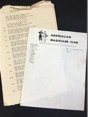 Sale 8539M - Lot 107A - Australian Magicians Club Letter Head for 1976; t/w One Card Pete trick by W. R. Murray, Rajoy, the Prostidigitatour Noveltique