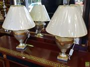 Sale 8566 - Lot 1419 - Pair of Italian Made Gold & Chrome Table Lamps (3830)