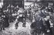 Sale 8732A - Lot 5054 - Heinrich Zille (1858-1929) - Ringkanmpf in der Schabude (Wrestling in the Schaubude), c1915 17.5 x 23cm