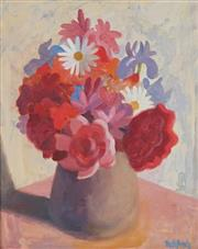 Sale 8858 - Lot 523 - Alison Rehfisch (1900 - 1975) - Still Life, Daisies, Irises and Roses 29 x 23.5 cm