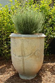 Sale 8908H - Lot 5 - A concrete Anduze pot, planted with lavender. Height of pot 71cm