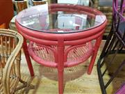 Sale 8912 - Lot 1048 - Red Painted Tiered Cane Side Table with Round Glass Top