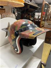 Sale 9077 - Lot 2074 - Kevin Wirri Bush Berry Leaves acrylic on scooter helmet