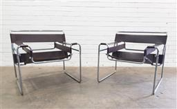 Sale 9117 - Lot 1049 - Pair of Wassily armchairs with leather on metal base (h73 x w67 x d75cm)