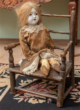 Sale 9120H - Lot 330 - An MW Germany Porcelain doll 6/5 size together with an elm chair of diminutive size. (leg loose)