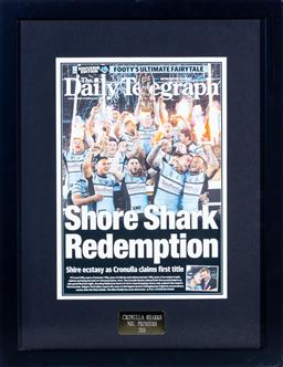 Sale 9130S - Lot 89 - Cronulla Sharks 2016 NRL Premiers front page of The Daily Telegraph, Frame size 59cm x 46cm