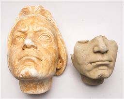 Sale 9128 - Lot 66 - A plaster mould mask of Beethoven (L: 30cm) together with another