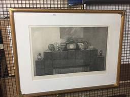 Sale 9135 - Lot 2077 - Terrence Millington  Mantlepiece, etching ed. 26/75, frame: 67 x 86 cm, signed lower right