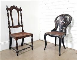 Sale 9196 - Lot 1019 - Two Victorian Ebonised Chairs, one with papier-mache balloon back having floral decoration with mother-of-pearl inlay, caned seat &...